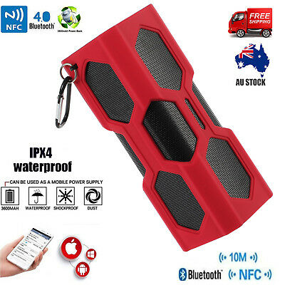 Waterproof Portable Wireless Bluetooth Speaker SUPER BASS NFC For Smartphone AU