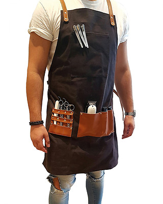 Barber Apron Beauty Saloon SPA Waxed Canvas Hand Made (Dark Charcoal)