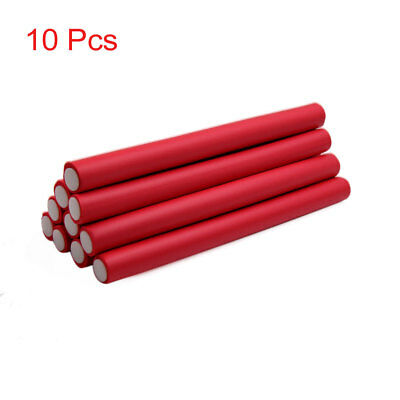 10 Pcs Red 2cm Dia DIY Curler Makers Foam Bendy Twist Curls Tool Hair Rollers