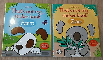 Set of 2 That's not my sticker books. Farm and Zoo. Brand new. Usborne.