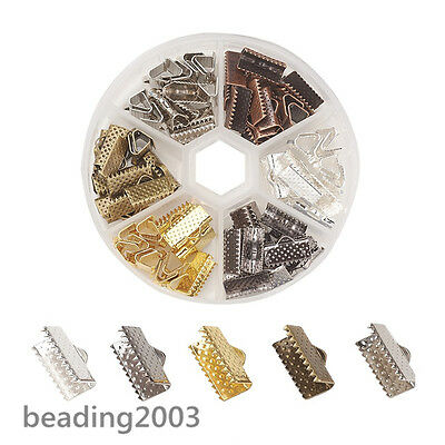 1 Box Assorted 5 Colours Small Iron Ribbon End Clamps Clasps Findings 13x7x5mm