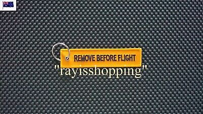 ORANGE Remove Before Flight Woven Embroidered Keychain Keyring Chain Ring Cool
