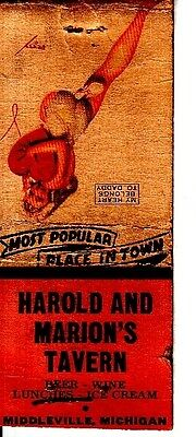 Harold and Marion's Tavern Middleville Michigan MI Old Matchcover