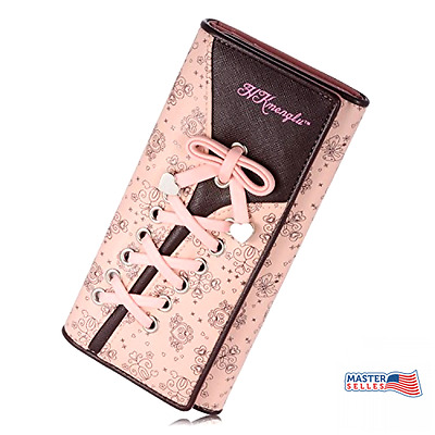 Tie Women's Wallet Leather Long Purse Clutch Card Holder Organizer Pink NEW