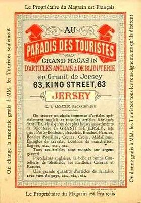"Very Rare Advertising Map Plate for ""au Paradis des Touristes"" on Isle of Jersey"