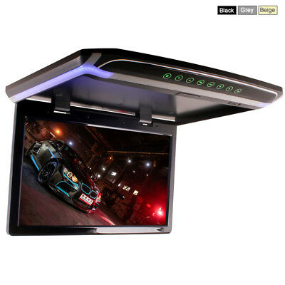 15 Inch Car Roof Top Overhead Flip Down Monitor SD USB HDMI Video Player Black