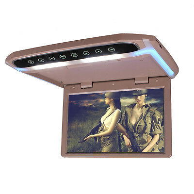 12 Inch In Car Roof Overhead Flip Down LED HD Monitor MP4 MP5 Video Player Beige