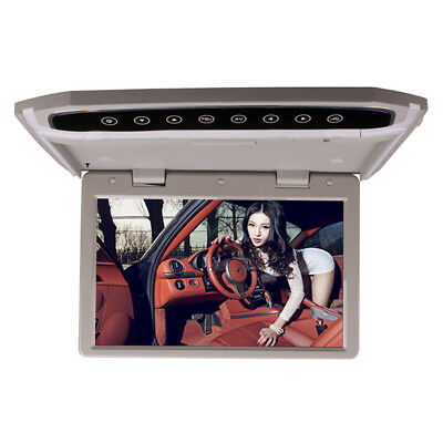 12 Inch Car Roof Overhead Flip Down LED HD Monitor Video Media Player Grey Color