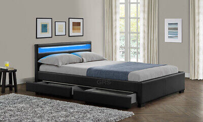 Double King Size Bed Frame with 4 Drawers Storage LED Headboard and Mattress New