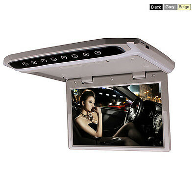 10 Inch Car Roof Overhead Flip Down LED Monitor SD USB HDMI MP4 MP5 Video Player