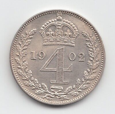 Very Rare Edward VII 1902 Matt Proof Silver Maundy Fourpence 4d
