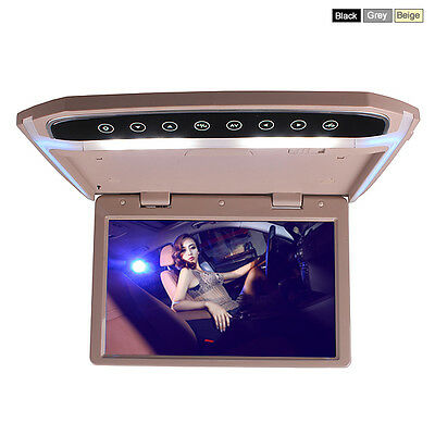 Car Roof Overhead Flip Down LED Monitor SD USB HDMI MP4 MP5 Video Media Player