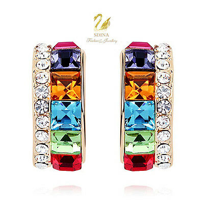 18K Gold GP Made With Swarovski Crystal Channel-Set Colourful Half Hoop Earrings