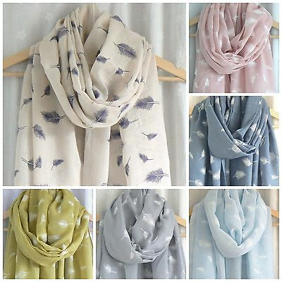 Ladies Womens Feather Print Scarf Pink Blue Green Cream Wrap Shawl Natural