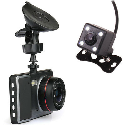 "4.3"" Car Dual Camera DVR Camcorder VCR Video Recorder Reverse Parking 16GB Card"