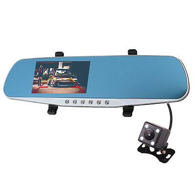 Car HD Dual Camera DVR Camcorder VCR Video Recorder Rear View Mirror 16GB Card