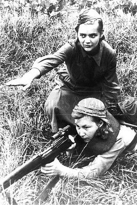 Soviet woman Sniper Partisan training WW2 Russian soldier Red army photo 4x6