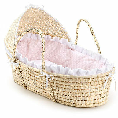Moses Basket with Bedding / Liner (Pink Gingham), Natural Hooded, Walls Handles