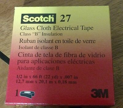 3M Scoths 27 Glass Cloth Electrical Tape 1/2 in X 66ft 22yd X.007 in