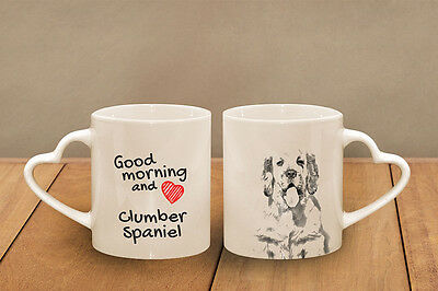 "Clumber Spaniel - ceramic cup, mug ""Good morning and love, heart"", CA"