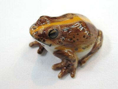 Porcelain Miniatures Collectible Ceramic Brown Frog FIGURINE