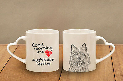"Australian Terrier - ceramic cup, mug ""Good morning and love, heart"", CA"