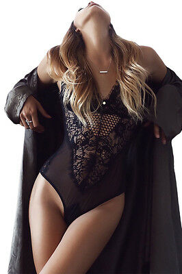 Woman's New Sheer Mesh Lace Cupped Teddy Lingerie in Black or White