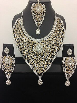 New Latest Indian Bollywood Necklace Set Costume Jewellery Gold Bronze Silver