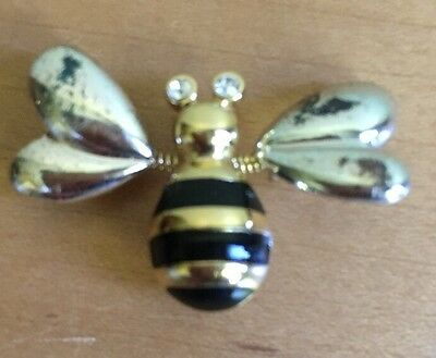 BEE Pin - Gold, Silver, & Black tones with Rhinestone Eyes