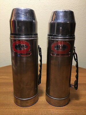 VINTAGE UNO-VAC UNBREAKABLE STAINLESS STEEL THERMOS Lot Of 2