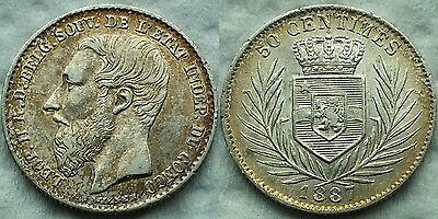 Rare@ 1887 BELGIAN CONGO Leopold II Silver 50 Cent**XF**20K Minted