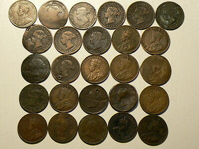 Canada Lot Of 26 Large Cent Culls, 1859 to 1919 #G6281
