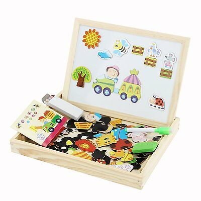 Kids Magnetic Wooden Writing  Drawing Learning Board Toddler Sketchpad Toys  NEW