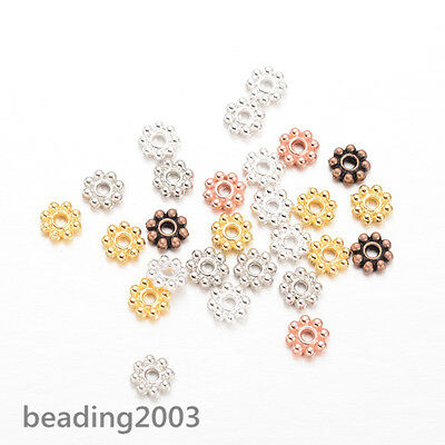 300 pcs Flower Metal Beads Spacers Assorted Colours 5x1.5mm Jewellery Findings