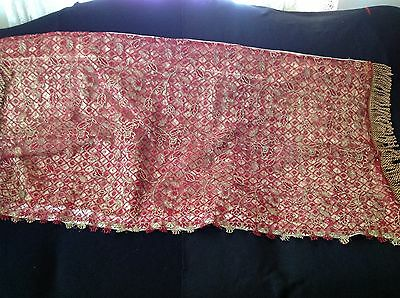 Shawl, Red and Gold Lace