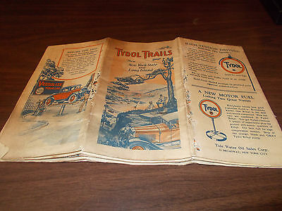 1920s Tydol Trails New York State/Long Island Vintage Road Map