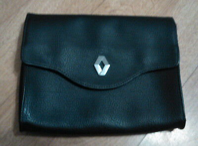 Renault Owners Black Leather Handbook Wallet Manual Holder Pouch Case