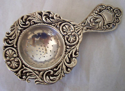 """Antique 800 Silver Handmade Tea Strainer Sifter Spoon 5 1/4"""" Long"""