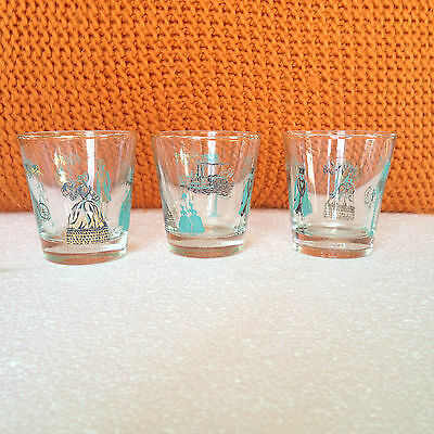 vintage, Retro, Mid-Century modern graphic drinking glasses - 3X