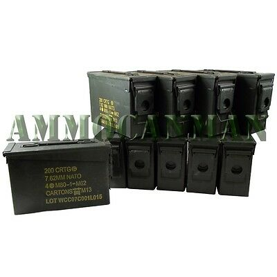 10 Cans! TEN 30 Cal Grade 2 Empty Ammunition Case. M19A1 Ammo Cans