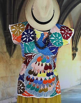 Hand Embroidered Huipil Blouse Multi-Color Peacock Jalapa Mexico Hippie Boho