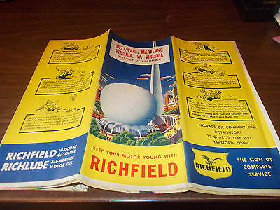 1939 Richfield Delaware/Maryland/Virginia/West Virginia/DC Vintage Road Map