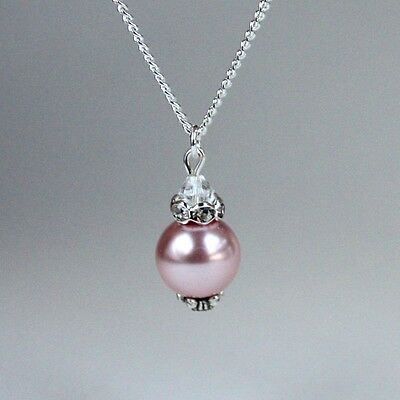 Blush pink vintage pearl silver chain pendant necklace wedding bridesmaid gift