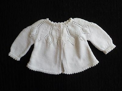 Baby clothes GIRL newborn 0-1m white hand-knitted cardigan patterned SEE SHOP!