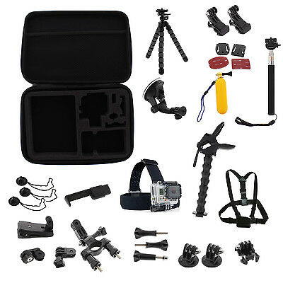 Tripod Monopod Head Chest Mount Camera Accessory Bundle Kit For GoPro Hero 1/2/3