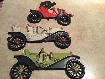Vintage  Car Wall Decor Plaque Hangings Automobile Lot of 3 Midwest