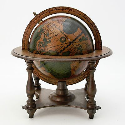 """Vtg 1970's Zodiac Signs Old World Spinning 6"""" Diam. Globe Wood Stand Base Italy"""