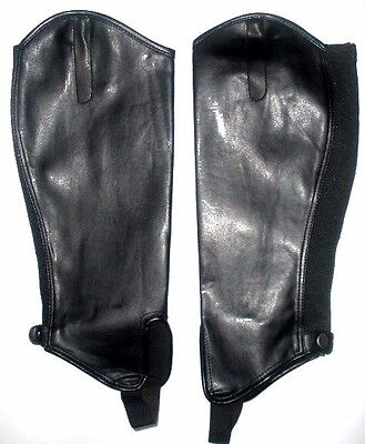 Shires Synthetic Leather Show Gaiters Size L Adult Black Horse Riding Half Chaps
