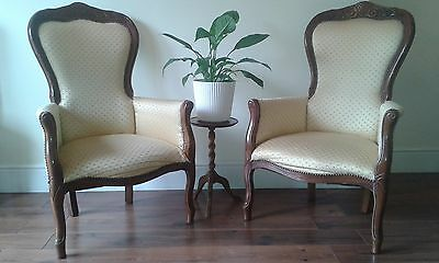 Pair of Reproduction Victorian Style French Salon Armchairs