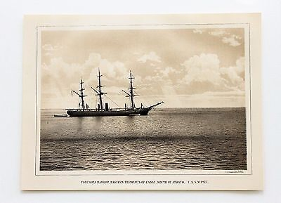 1874 Darien Expedition USS Nipsic Columbia Harbor Lithograph EXRARE ORIGINAL
